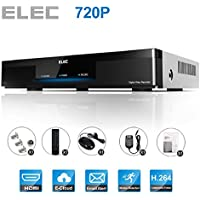 Security Camera DVR, ELEC 8 Channel 1080P Lite 720P AHD Standalone DVR No HDD (HDMI VGA BNC Output) 8CH CCTV QR Code Scan Easy Remote View Email Alerts DVR for Home Security Surveillance Camera System