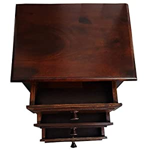 3 Drawer Bed Side sheesham Wood Table in Natural Dark Brown Shinny Color
