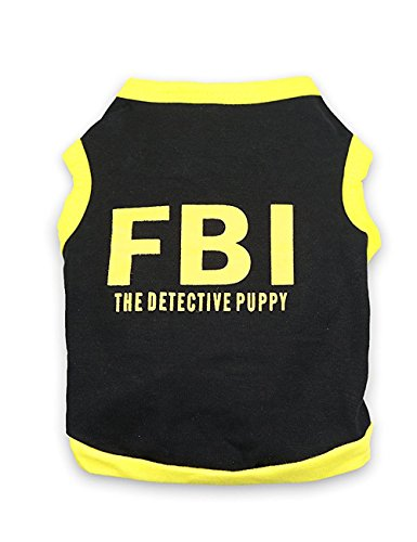 DroolingDog Dog Halloween Shirt Dog FBI Costume Pet Police Clothes T Shirts for Small Dogs, XS, Yellow Side