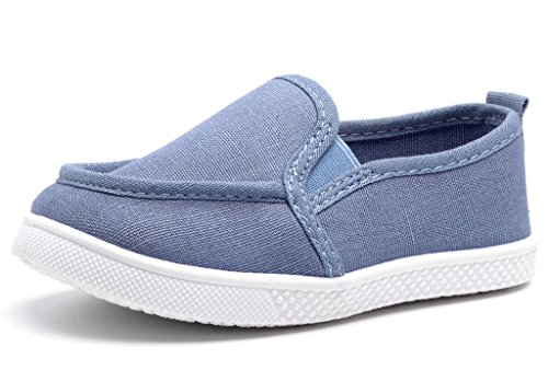 DADAWEN Baby's Boy's Girl's Canvas Light Weight Slip-On Loafer Casual Running Sneakers Blue US Size 9 M Toddler