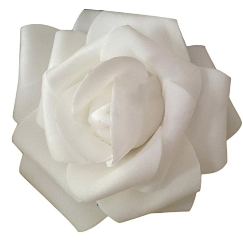 Oksale 100 Pcs Foam Roses Artificial Flowers Heads, 2.7 Inch Diameter, Fake Wedding Kissing Balls for Party, Bookstore,Cafe Store Bridal Home Decor (White)