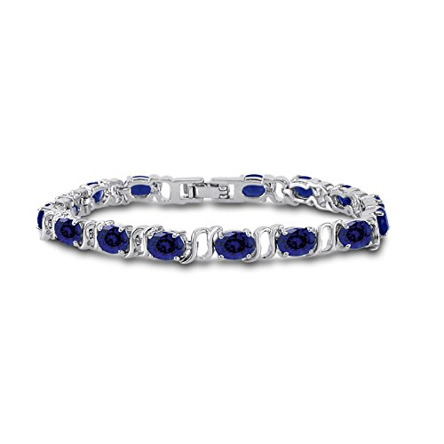 Silver Plated Brass Oval Cut Simulated Blue Sapphire Tennis Bracelet 7 inch