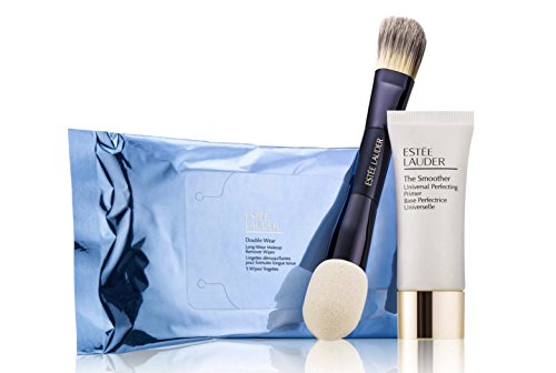 Estee Lauder Double Wear Makeup Kit (3 Piece Set), Perfecting Primer, Foundation Brush Remover Wipes, Foundation Brush, Travel Size