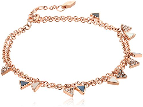 Fossil Triangle Double Bracelet, Rose Gold Tone ()