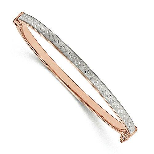 Or Rose 14 carats avec diamant de Rhodium coupe-JewelryWeb Bracelet à charnière