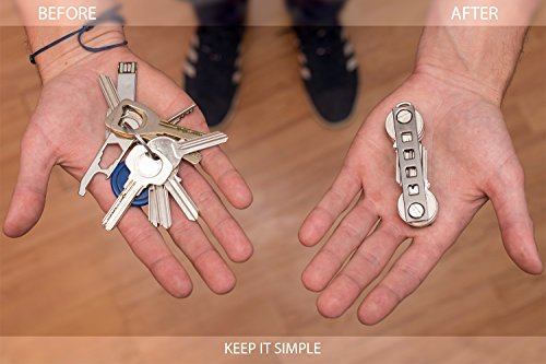 Compact Key Organizer with Retractable Key Chain, Pillbox, S Hook Clip Carabiner, Sim & Bottle Opener, Keyring Loop Car & FOB | Smart Keys Holder with Accessories | Stylish Minimalist Pocket Keychain by Curly Key (Image #3)
