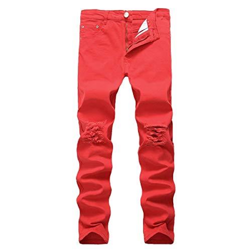Elasticizzati Slim Uomo Giovane Fit Alto Alta Elastico Pantaloni Vita In Rosso Con Da Bassa Dritta A Denim Jeans E f6nnBqpOF