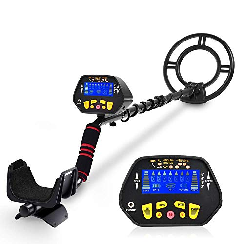 "RM RICOMAX Metal Detector - High-Accuracy Metal Finder with LCD Display, Discrimination Mode, Distinctive Audio Prompt, 10"" Waterproof Search Coil for Underwater Metal Detecting"
