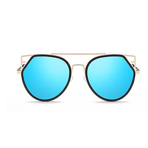 Gafas UV mujeres de Conducción Gafas de gato ribeteadas hombres Protección Personalidad con de Gafas unisex montura de Gafas para sol de Ojos Para y metálica Retro Lente sol sol Azul colorida sol viajar HPSvU7