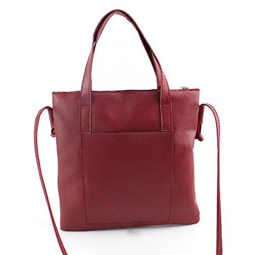 Bolsos Bandolera de Mujer, Holacha Crossbody Bolsos de Mano de Hombro de Cuero Sencillo Retro Vintage Regalo Rojo