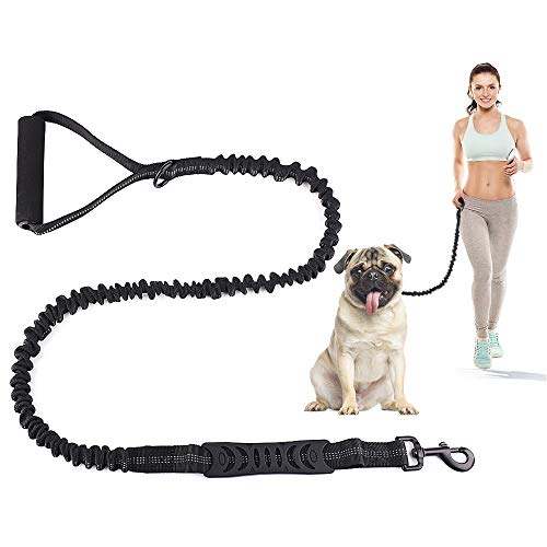 SHANPU 7 FT No Pull Bungee Dog Leash - Comfortable Foam Barrel Handle and Highly Reflective Threads Heavy Duty Dog Leashes for Medium and Large Dogs(up to 140 LB)