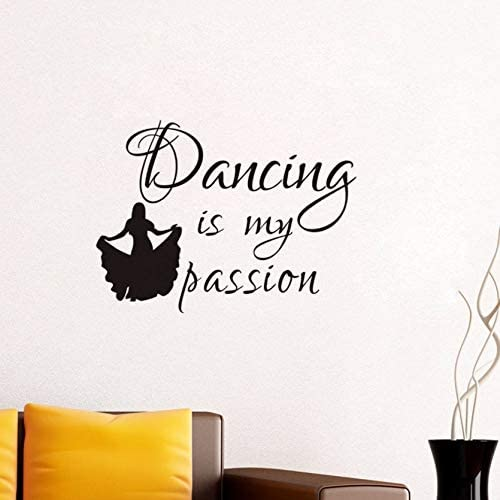 Amazon Com Dalxsh Dancer Girl Vinyl Wall Decal Quotes Dancing Is My Passion Art Sticker Mural Wallpaper Living Room Dance Studio Decoration 42x56cm Home Kitchen