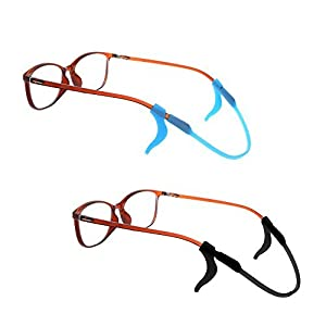 BCP Set of 2 Silicone Kid Children's Eyewear Glasses Neck Retainers Eyeglass Glasses Sunglasses Spectacle Head Safety Strap Cord Holder for Kids Children (Black & Blue Color)