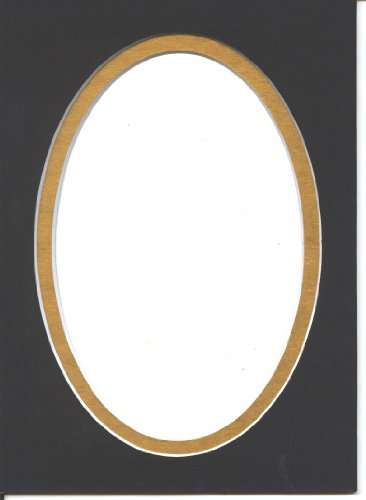 16x20 Black & Gold Oval Double Picture Mat Bevel Cut for 11x14 ()