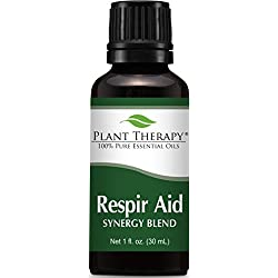 Plant Therapy Respir-Aid Synergy Essential Oil Blend. 100% Pure, Undiluted, Therapeutic Grade. Blend of: Eucalyptus, Pine, Peppermint, Lavender, Spruce, Marjoram and Cypress. 30 ml (1 oz).