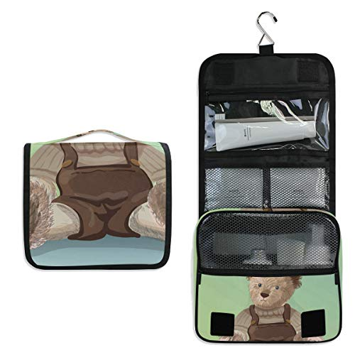 Travel Hanging Toiletry Bag Teddy Bear Cosmetic, Makeup and Toiletries Organizer | Compact Bathroom Storage | Home, Gym, Airplane, Hotel, Car Use