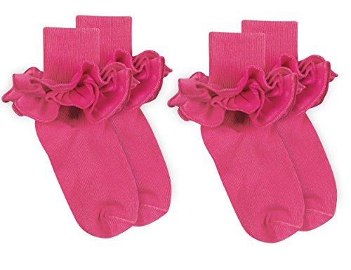 (Jefferies Socks Girls Misty Ruffle Turn Cuff Socks 2 Pair Pack (Toddler - USA Shoe 3-7 - Age 1-2 Years,)