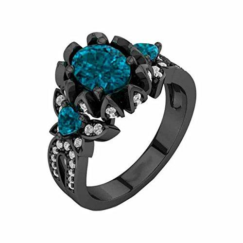 SilverstarJewellery 14k Black Gold Fn Blue Topaz & D/VVS1 Diamond Women's Three Stone Engagement Ring