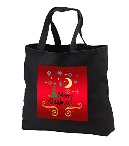 AmansMall Winter, Holidays and Typography - Merry Christmas with Snowflakes, Moon and Pine Tree, 3drsmm - Tote Bags - Black Tote Bag JUMBO 20w x 15h x 5d (tb_292716_3)