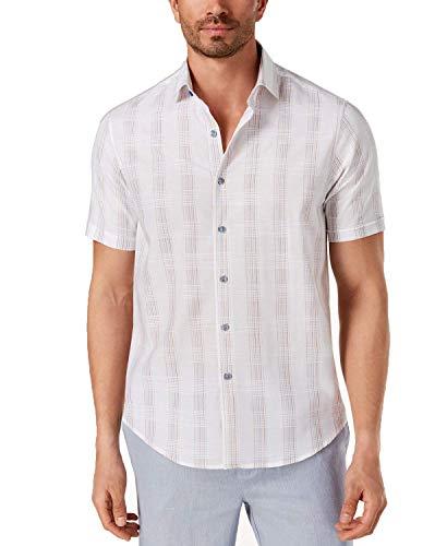 Tasso Elba Men's Latomie Dobby Stripe Shirt (White Combo, XX-Large)