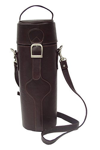 Piel Leather Adventurer Single Deluxe Wine Tote in Chocolate Made Leather Single Wine