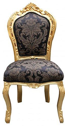 Casa Padrino Barock Esszimmer Stuhl Schwarz Muster Gold Antik