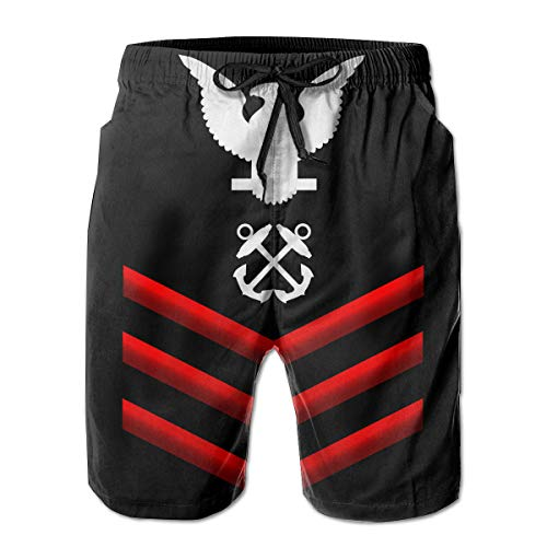 (Navy Petty Officer First Class Shoulder Patch Rate Insignia Red Mens Summer Casual Swimming Shorts Quick Dry Swimming Shorts with Pockets)