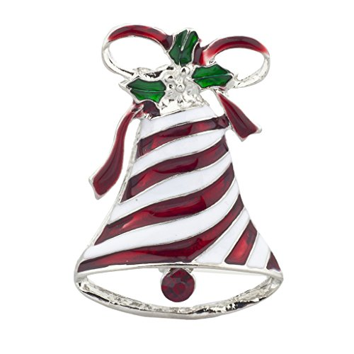 Lux Accessories Silvertone Christmas X-mas Holiday Bell Ribbon Enamel (Holiday Themed Costume Jewelry)