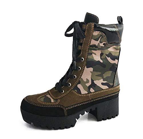 omens Chunky Heel Platform Lug Sole Military Combat Boots Camouflage 8.5 ()