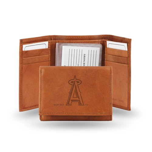 Embossed Mlb Tri Fold Wallet - MLB Los Angeles Angels Embossed Genuine Cowhide Leather Trifold Wallet