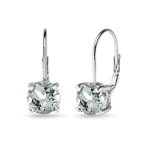 Aquamarine Dangling Earrings (Sterling Silver Polished Light Aquamarine 7mm Round Dainty Leverback Earrings)
