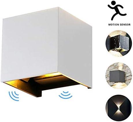 Mallallah Aplique LED iluminación al Aire Libre Interior luz de Pared con Sensor de Movimiento IP 65 Impermeable para Cocina Escalera cámara Estera jardín césped lámpara de Noche, Blanco, 7 W: Amazon.es: