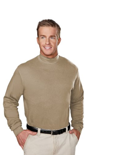 Spandex Mock Turtleneck - Tri-Mountain 100% Cotton Golf Cut Spandex Stretch Shirt - 620 Graduate