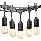 LED Outdoor String Lights, TaoTronics 50ft Commercial Grade Outdoor Patio Lights, Heavy Duty Weatherproof Strand with 16xS14 LED Bulbs (One Spare), Connect up to 30 String Lights, UL588 & ETL Approved