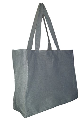 Extra Large Travel Day Tote Bag Heavy Duty Cotton Twill Zip Top (Medium Gray)