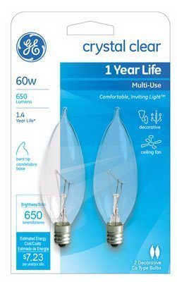 Ge Decorative Bent Tip Light Bulb 60 W 650 Lumens Candelabra 4-1/8 In. Clear Card / 2 by GE Lighting