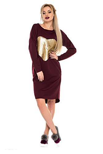 Issa Plus Long Sleeve Fashion Women Dress (XL, Burgundy) (Dresses With Hearts For Women)