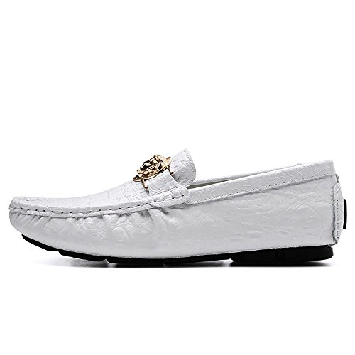 Blanco Hombres Conductor EU Mocasines de Mocasines Ocio de Zapatos Negocios Casuales Patrón impresión Hombre shoes de para Color tamaño Loafer 2018 Verde Zapatos 40 cocodrilo los Shufang OF64qwF
