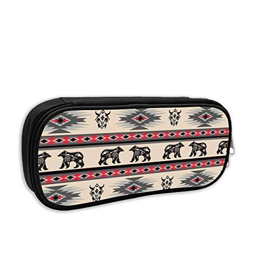 (American Native Bear Buffalo Stripe Cosmetic Makeup Bag Students Pen/Pencil Case Pouch Pencil Holders)