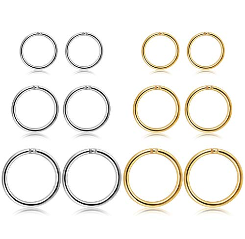 Thunaraz 3-4Pairs Stainless Steel 16G Sleeper Earrings Septum Clicker Nose Lip Ring Body Piercing -