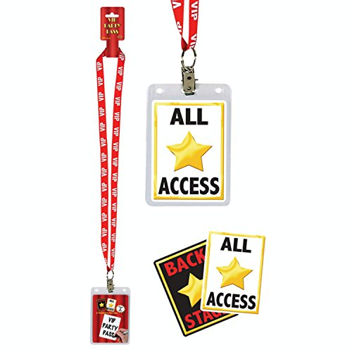 (Pack of 12 Hollywood Theme Movie-Night VIP Party Pass Lanyards with Card Holders)