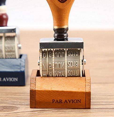Gshy Sello de fecha de madera Vintage Stamp DIY Scrapbooking Roll Retro Papeler/ía de oficina Colores aleatorios