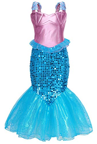 HenzWorld Little Mermaid Ariel Costume Dress Girls Sequin Birthday Party Cosplay Princess -