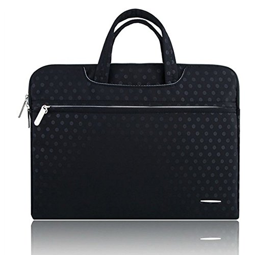 Black/White Dot Briefcase Bag Case Pouch Sleeve for Acer Aspire Switch 11 12 / Apple MacBook Pro 11.6 13.3-Inch / HP ASUS Lenovo Dell Toshiba 13 inch Laptops (Black)