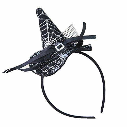 Winzik Children Halloween Headwear Mini Pointy Witch Hat Cute Hair Hoop Hairband Accessories Cosplay Party Props Decoration (6#)]()