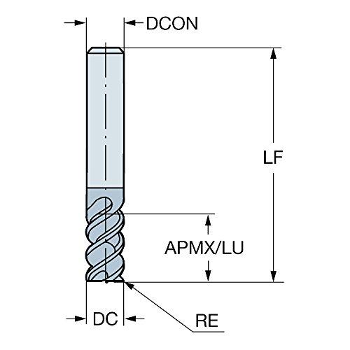 63mm Overall Length 2mm Corner Radius 8mm Shank Diameter 50 Deg Helix Sandvik Coromant R216.24 Carbide Corner Radius End Mill Metric TiAlN Monolayer Finish 8mm Cutting Diameter 4 Flutes