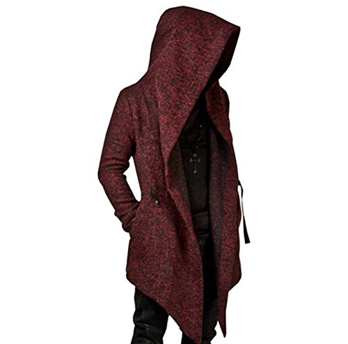 Mens Long Sleeve Irregular Hem Cardigan Coat Trench,Loose Fit Solid Color Hoodies Outwear Windbreaker (X-Large, Wine Red) ()