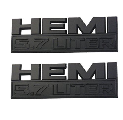 Aimoll RAM 5.7 Liter Hemi 3D Logo Decal Emblem Replacement for Badge Sticker Dodge Ram 1500 Grand (Matte Black, ()