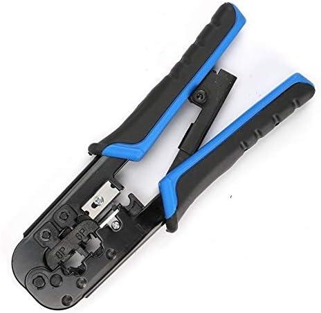 シンプルで耐久性のある 多機能デュアルRJ45 / 11ネットワーククリスタルヘッド圧着ケーブル圧着ペンチ圧力 (Color : Blue)