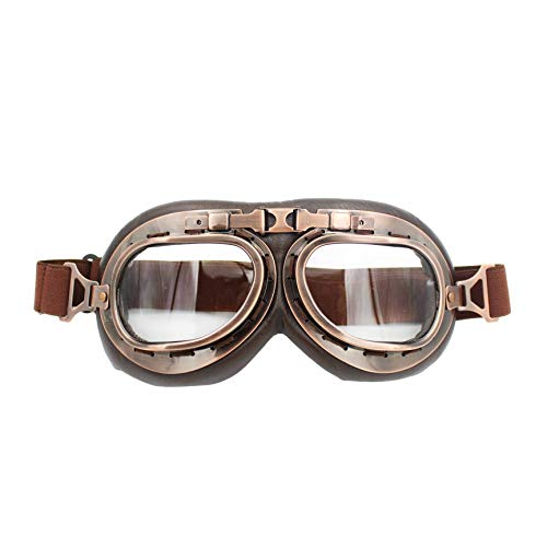 FOXCID Sports WWII Raf Vintage Aviator Pilot Style Goggle For Motorcycle Cruiser Scooter Bike Racer Touring Helmet(Copper Frame, Clear ()